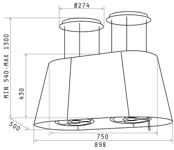 inselhaube elica twin isola 90 dunstabzugshauben shop. Black Bedroom Furniture Sets. Home Design Ideas